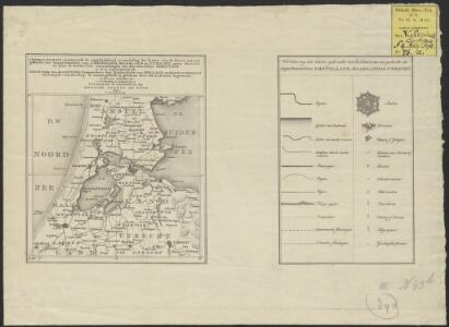 Algemeen kaartje, aantonende de uitgestrektheid en verdeling der bladen van de Kaart van een gedeelte der Departementen van Amstelland, Maasland en Utrecht