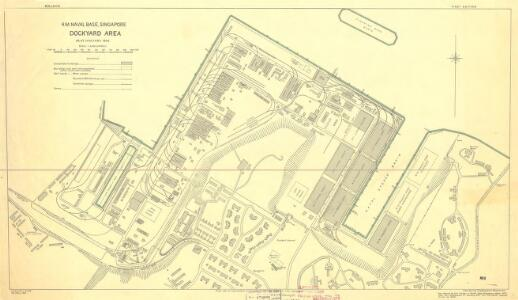 H.M. Naval Base, Singapore. Dockyard area as at January 1942.
