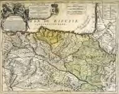 La Biscaye divisée en ses 4 parties principales et le royaume de Navarre divisé en ses merindades