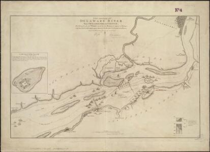 The Course of the Delaware River from Philadelphia to Chester, exhibiting the several works erected by the rebels to defend its passage, with the attacks made upon them by His Majesty's land & sea forces