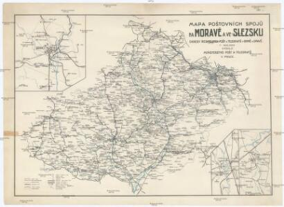 Mapa poštovních spojů na Moravě a ve Slezsku
