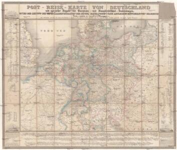 Post- Reise-Karte von Deutschland mit spezieller Angabe der Eisenbahn- und Dampfschiffahrt-Verbindungen