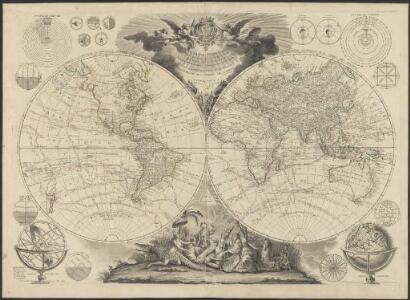 Le globe terrestre divisé en ses deux hémisphères oriental et occidental assujetti aux nouvelles découvertes du XVIIIme siècle