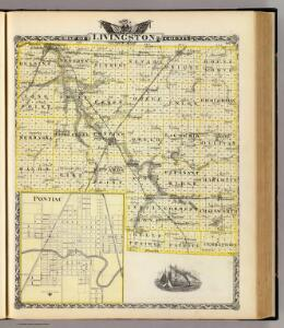 Map of Livingston County and Pontiac.