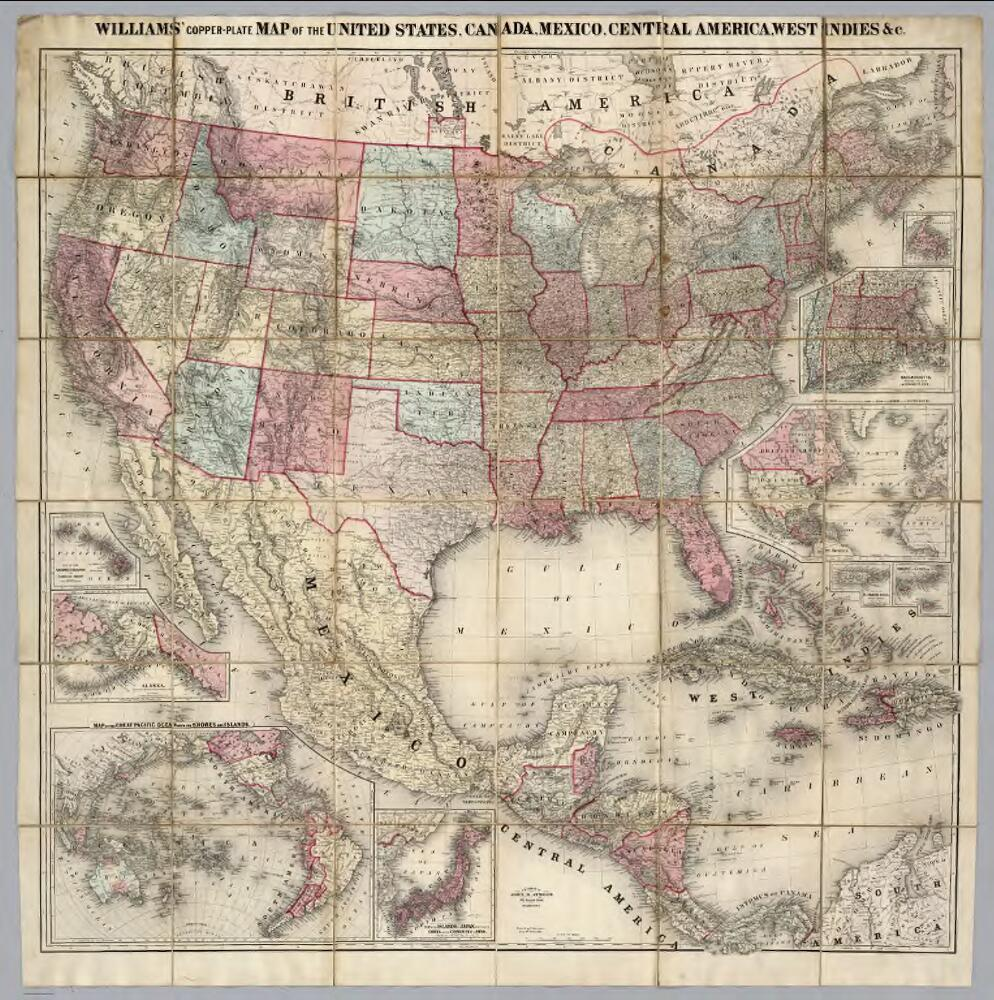Map Of The United States, Canada, Mexico, Central America, West ...