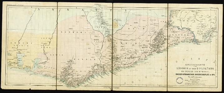 Special map of the inland countries on the Gold Coast up to Kumasi, an Anglo-African theater of war in 1874. By A. Petermann
