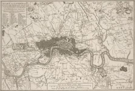 KAART van LONDEN enz en van het NABY GELEGEN LAND ruim een Uur gaans. rondsom dezelve Stad; getrokken uit de groote gemeeten Kaart van de Hr. JOHN ROCQUE, Te AMSTERDAM by ISAAK TIRION 1754