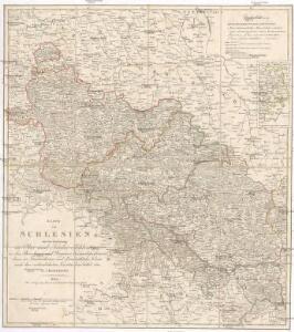 Karte von Schlesien mit der Eintheilung in Ober und Nieder Schlesien in das Breslauer und Glogauer Kam[m]erdepartement dann in Fürsterthümer und Landräthliche Kreise