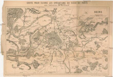 Carte pour suivre les opérations du siége de Paris