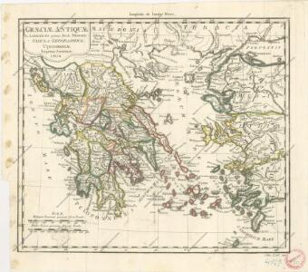 Graeciae antiquae et adiacentis partim asiae Minoris tabula geographica