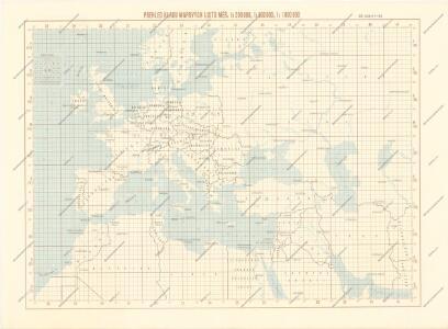 Přehled kladu mapových listů měř. 1:200 000, 500 000, 1 000 000