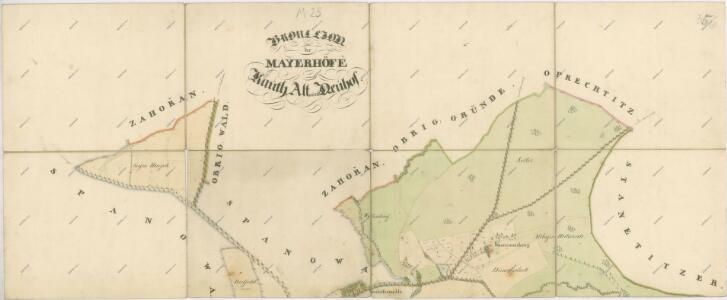 Mapa pozemků dvorů Kout, Starý dvůr a Nový Dvůr