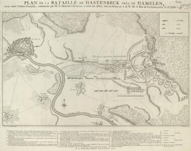 Plan de la Bataille de Hastenbeck près de Hamelen