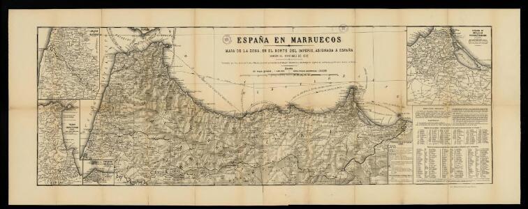 España en Marruecos: mapa de la zona, en el norte del Imperio, asignada a España según el Tratado de 1912 / formado por los señores Elola y Méndez, teniendo presentes los trabajos nacionales y extrageros, dignos de confianza, publicados hasta la fecha