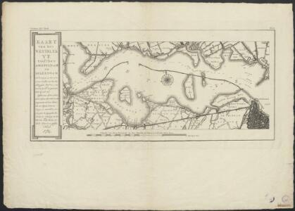 Kaart van het westelyk Ye tusschen Amsteldam en Spaerndam : met de diepten in het zelve, overëen komende met het Amsterdamsche peil, dat is ten naasten by, met den gewoonen vloed by stil weêr: zynde tevens op deeze kaart met de letters A.B.C.D.E.F.G en H. aangeweezen hoe, door middel van een' ryzen dam, ter hoogte van 6 dm. beneden hetzelve peil, de ongeregelde zeeboezem ter verbetering van het vaarwater zoude kunnen veranderd worden in een geregeld kanaal.