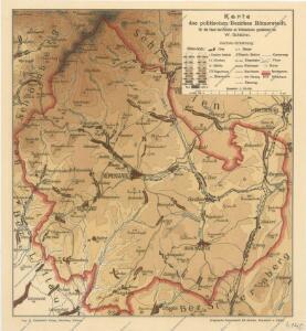 Karte des politischen Bezirkes Romerstadt