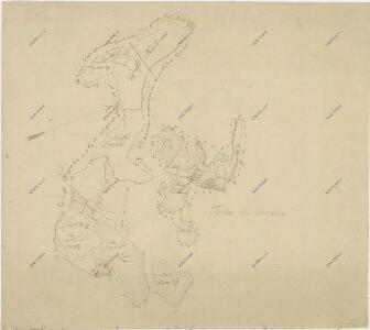 Záměrná mapa rybníků a lesů u Branné