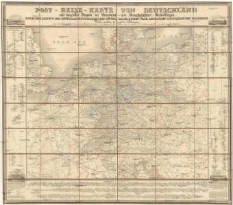 Post-Reise-Karte von Deutschland mit spezielle Angabe der Eisenbahn- und Dampschiffahrt- Verbindungen