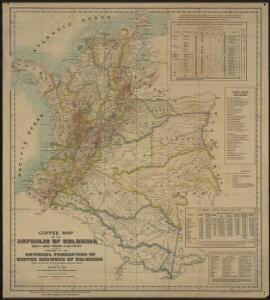 Coffee map of the Republic of Colombia
