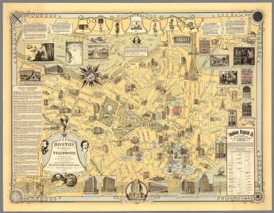 Boston, Birthplace of the Telephone : A Pictorial Map of the Down Town Area