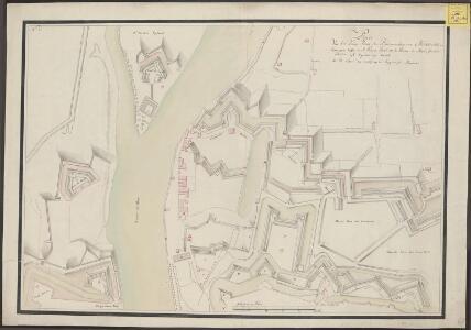 Plan van het laage front der buitenwerken van Maastricht, begreepen tussen de St. Pieters poort en de rivier de Maas, soo als hetselve sigh tegenwoordig bevind