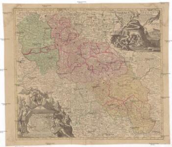 Silesiae ducatus tam superior quam inferior juxta suos XVII minores principatus et VI libera dominia disterminat nova mappa geographica ob oculos positus