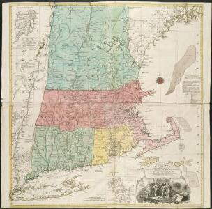 A map of the most inhabited part of New England, containing the provinces of Massachusets Bay and New Hampshire, with the colonies of Connecticut and Rhode Island, divided into counties and townships, the whole composed from actual surveys ...