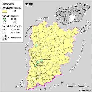 A németek településterülete a szomszédsági mutató alapján Bács-Kiskun megyében 1980-ban