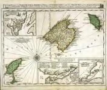 Carte welche die Inseln Maiorca, Minorca, Yvica und Formentera