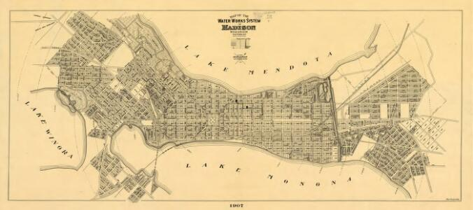 Map of the water works system of Madison, Wisconsin