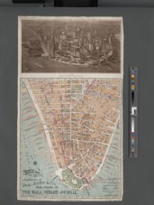 Financial District map of New York City. Aero view of financial distrct above map.