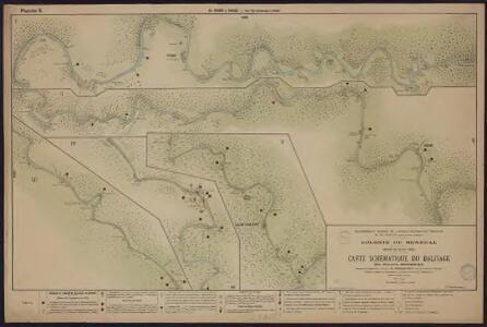 Carte schématique du balisage du fleuve Sénégal. De Podor à Saldé. De l'île Lamenayo à Saldé