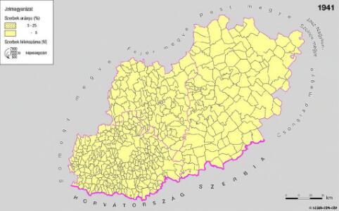 A szerbek aránya és száma a Dél-Dunántúlon és Bács-Kiskun megyében 1941-ben