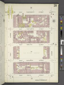 Manhattan, V. 2, Plate No. 28 [Map bounded by E. 14th St., Avenue A, E. 10th St., 1st Ave.]