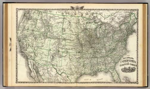 New railroad map of the United States, and Dominion of Canada.