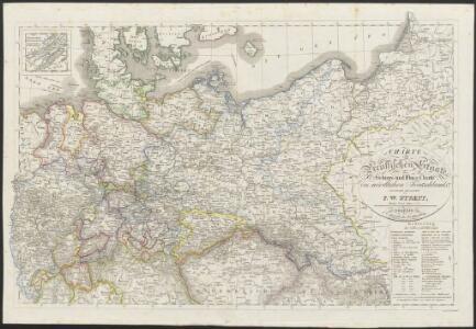 [Neuer Atlas der ganzen Erde nach den neuesten Bestimmungen ... : XVI.] Charte von Preussischen Staate, Gebirgs- und Fluss-Charte des nördlichen Teutschlands