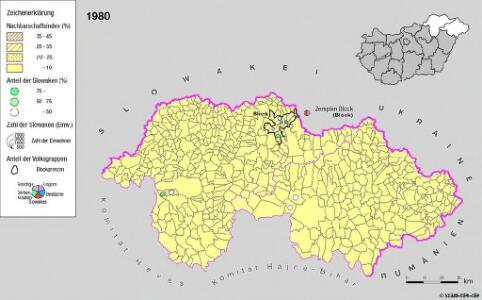 Siedlungsgebiet der Slowaken nach dem Nachbarschaftsindex für Nordost-Ungarn 1980